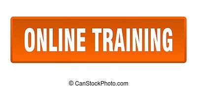 online training button. online training square orange push button