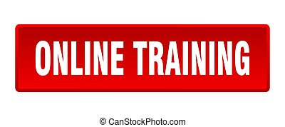 online training button. online training square red push button