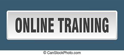 online training button. online training square white push button