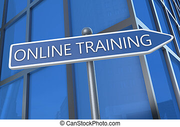 Online Training - illustration with street sign in front of...