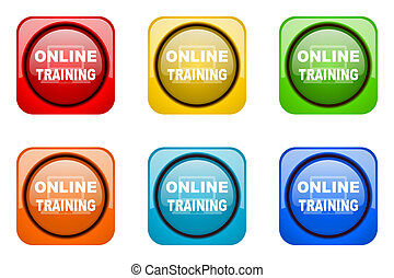 online training colorful web icons