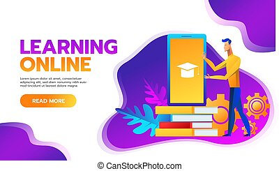 online training courses vector illustration.distance learning business education concept.internet studying book tutorials. skills developstudent flat cartoon character design for web mobile banner.