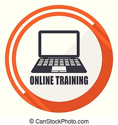 Online training flat design orange round vector icon in eps 10