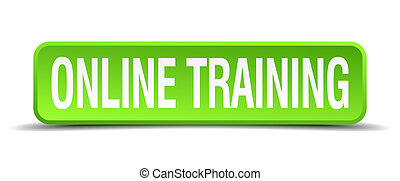 online training green 3d realistic square isolated button