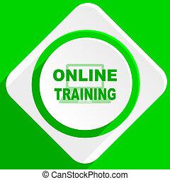 online training green flat icon