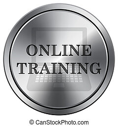 Online training icon. Round icon imitating metal.