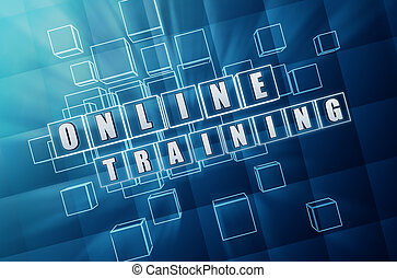 online training in blue glass cubes