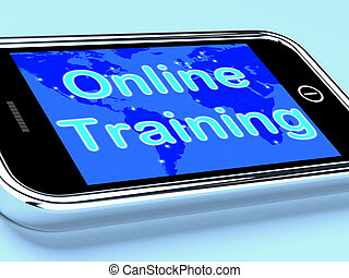 Online Training Mobile Screen Shows Web Learning