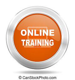 online training orange icon, metallic design internet button, web and mobile app illustration