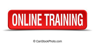 online training red 3d square button isolated on white