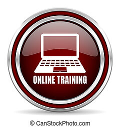Online training red glossy icon. Chrome border round web button. Silver metallic pushbutton.