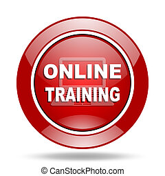 online training red web glossy round icon