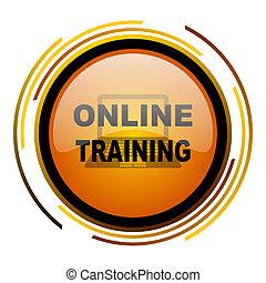 online training round design orange glossy web icon