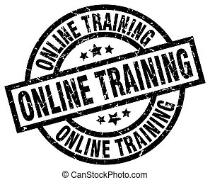 online training round grunge black stamp