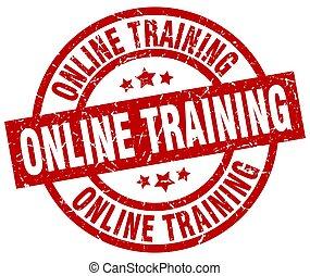 online training round red grunge stamp