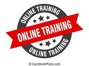 online training sign. online training black-red round ribbon sticker