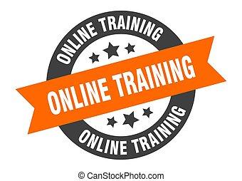 online training sign. online training orange-black round ribbon sticker
