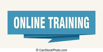 online training sign. online training paper origami speech ...