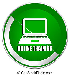 Online training silver metallic border green web icon for mobile apps and internet.