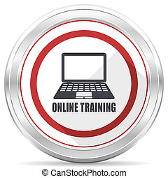 Online training silver metallic chrome border round web icon on white background