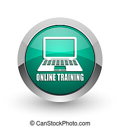 Online training silver metallic chrome web design green round internet icon with shadow on white background.