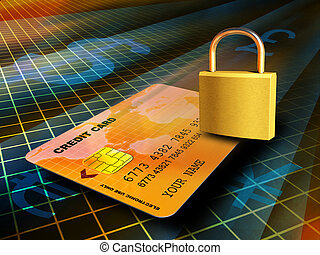 Online transaction - Credit card travelling through a secure...