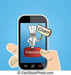 Online translation app concept