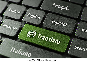 Multilingual translation online concept. Close up of multi language keyboard and translate word key in green color with clippingpath.