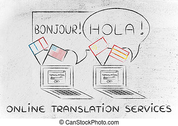 online translation services: laptop with different flags
