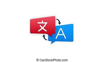 Online translator concept. Translator icon. Stock illustration. Motion graphics