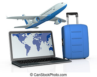 online travel booking - one notebook with an airplane and a...