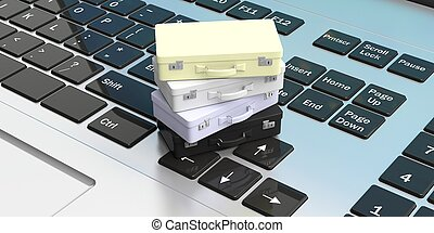 Online travel booking concept.Suitcases on a computer keyboard. 3d illustration