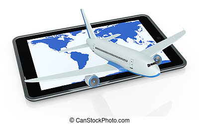 online travel booking - one tablet pc with an airplane that...