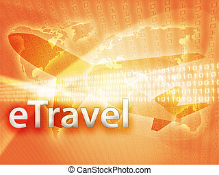 Online travel, illustration of electronic booking ...