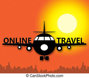Online Travel Meaning Explore Traveller 3d Illustration -...