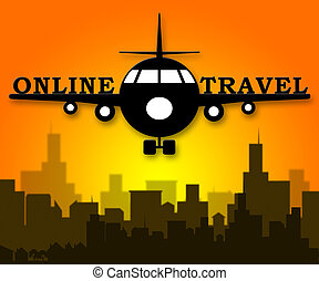 Online Travel Represents Explore Traveller 3d Illustration -...