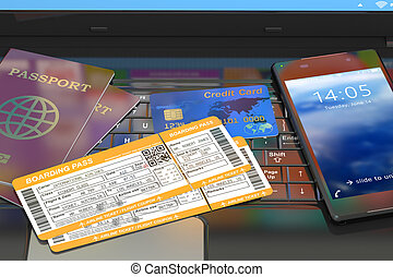 Online travel tickets booking on laptop
