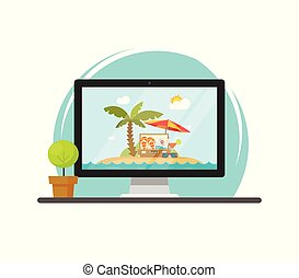 Online travel via computer vector illustration, concept of on-line trip and journey booking via pc, flat cartoon computer screen with beach resort on working table front view
