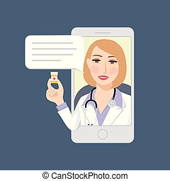 Smartphone with female doctor on call holding bottle with medication in hand. Online medical consultation concept, Modern medicine and healthcare system support. Isolated vector illustration