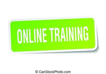 online, treinamento, quadrado, adesivo, branco
