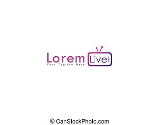 Online TV Channel Logo Design Template, Live Streaming Logo Concept, Pinky, Purple, Violet, Rounded, Square, TV Icon