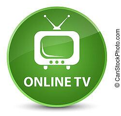 Online tv elegant soft green round button