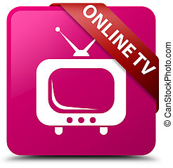 Online tv pink square button red ribbon in corner