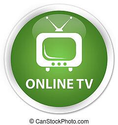 Online tv premium soft green round button