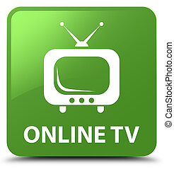 Online tv soft green square button