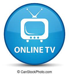 Online tv special cyan blue round button