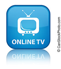 Online tv special cyan blue square button