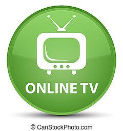 Online tv special soft green round button