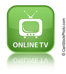 Online tv special soft green square button