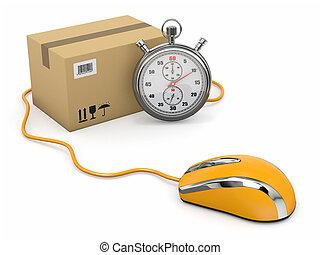 online, uitdrukken, delivery., muis, stopwatch, en, package.